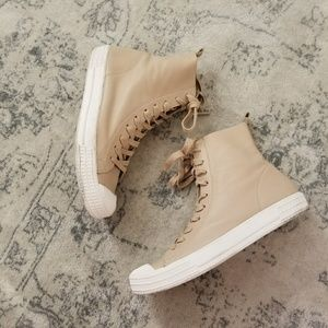 TopShop Leather beige High top shoes sneakers